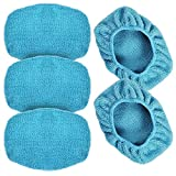 """eFuncar Car Care Microfiber Cloths for Windshield Cleaning Tool, Windshield Cleanner Wand Replaceable Glass Cleaning Bonnets, Interior Auto Window Cleaner Washing Pads, Fit 5"""", Blue, 5 Pack"""