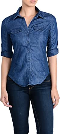 Ci Sono Women's Vintage Washed Denim Chambray Slimming Ribbed Button Down Shirt