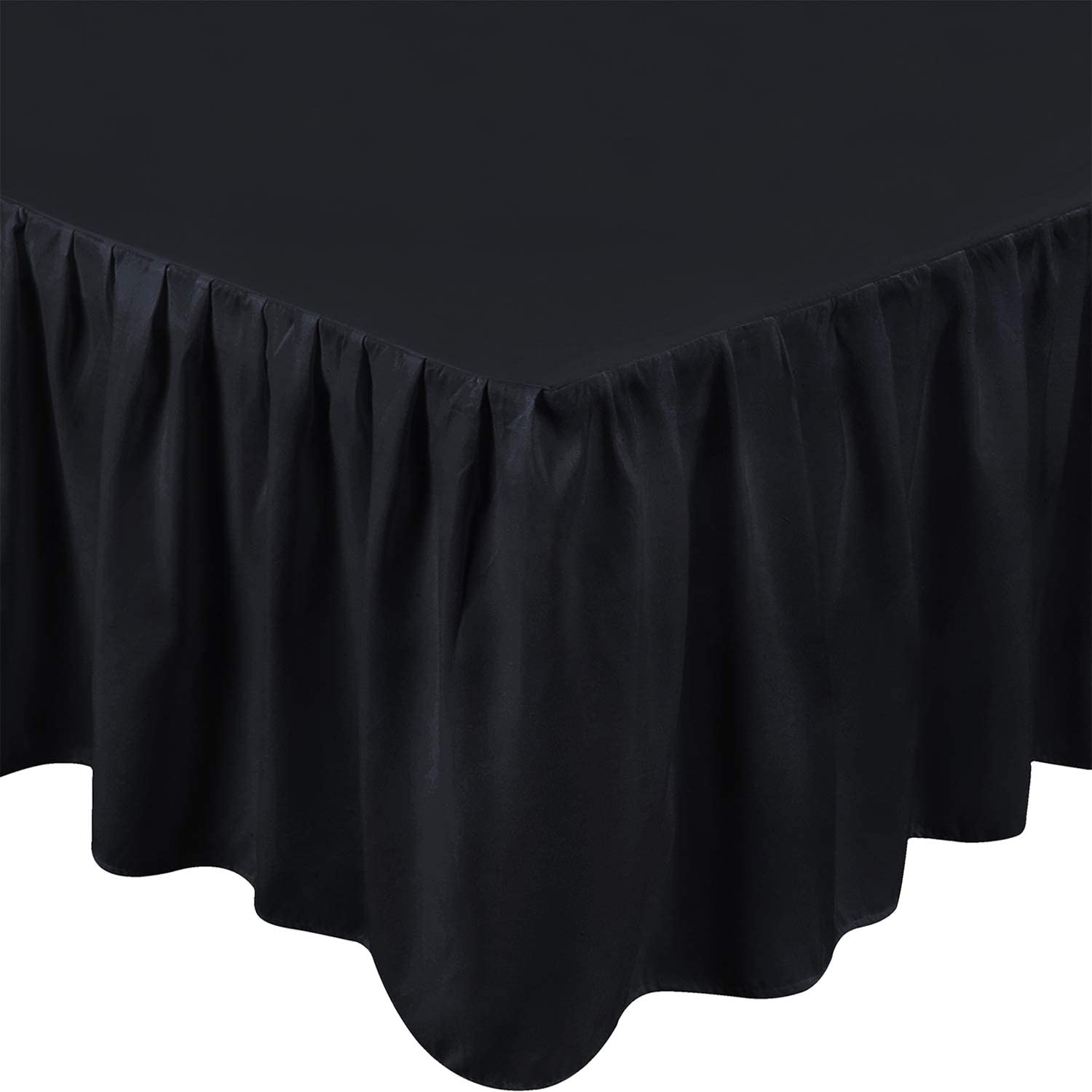 Utopia Bedding King Ruffle Bed Skirt,16 Inch Drop (Black)