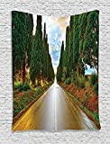 XHFITCLtd Tuscan Decor Tapestry, Large Boulevard With Trees In Old European Village Country Life Destination Artistic Photo, Bedroom Living Room Dorm Decor, 40 W x 60 L Inches, Multi