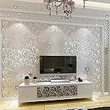 Oksale 1x 10M Luxury 3D Victorian Damask Embossed Wallpaper Wall Sticker Applique Papers Mural (Silver)