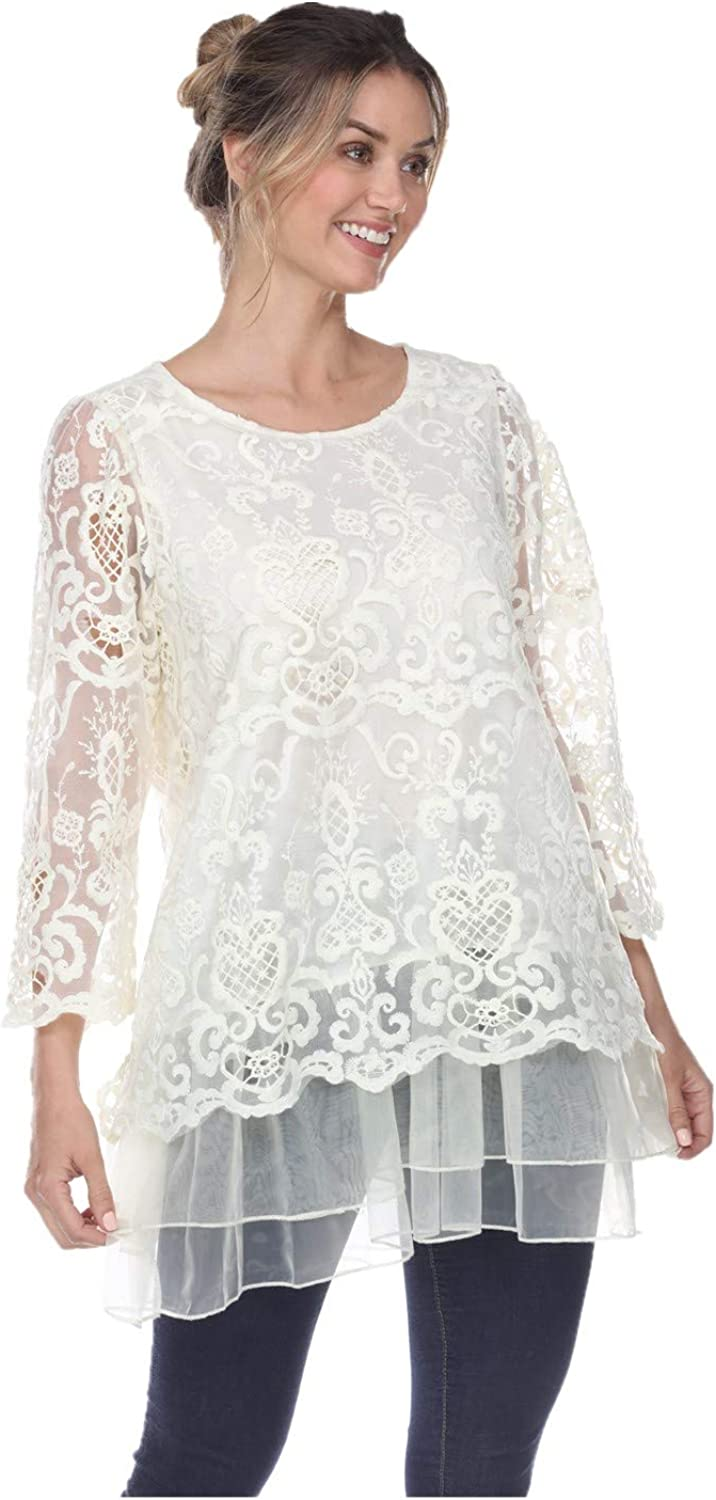 Women's Plus Size Summer Casual Short Sleeve Tops Floral Lace Scoop Neck Top