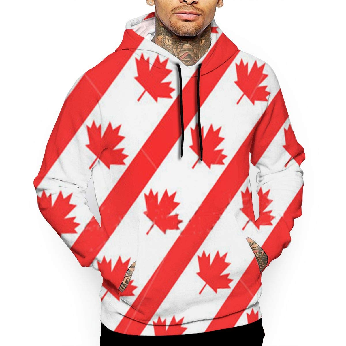 Canadian Symbol Maple Leaf Flag T-Shirt Hooded with A Pocket Rope Hat Customization Fashion Novelty 3D Mens