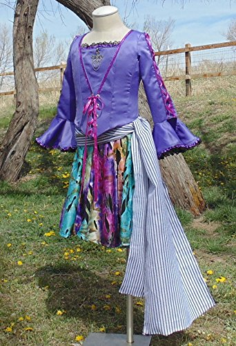 Flirty Pirate Purple Satin goth halloween dance girls 12-14 complete handmade by Fru Fru and Feathers Costumes & Gifts