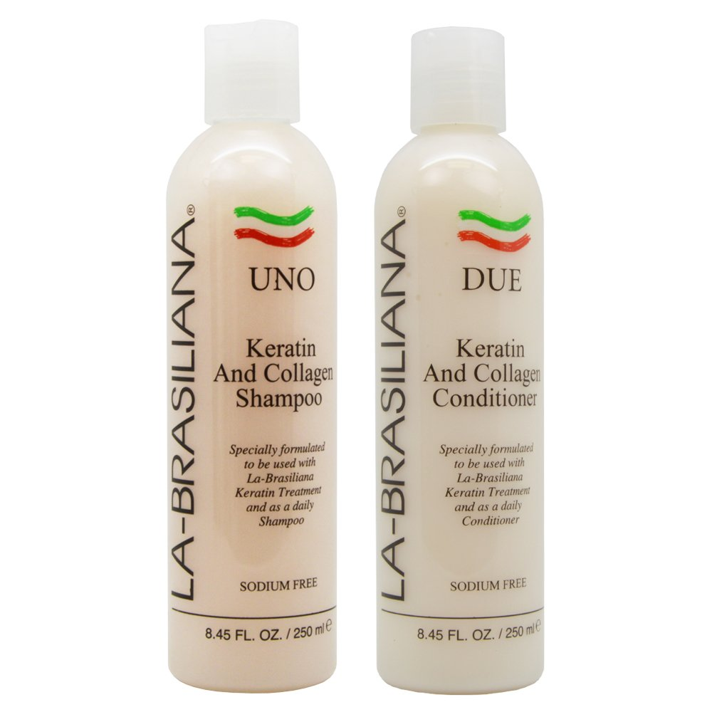 Amazon Com La Brasiliana Uno Keratin And Collagen Shampoo 8 45oz