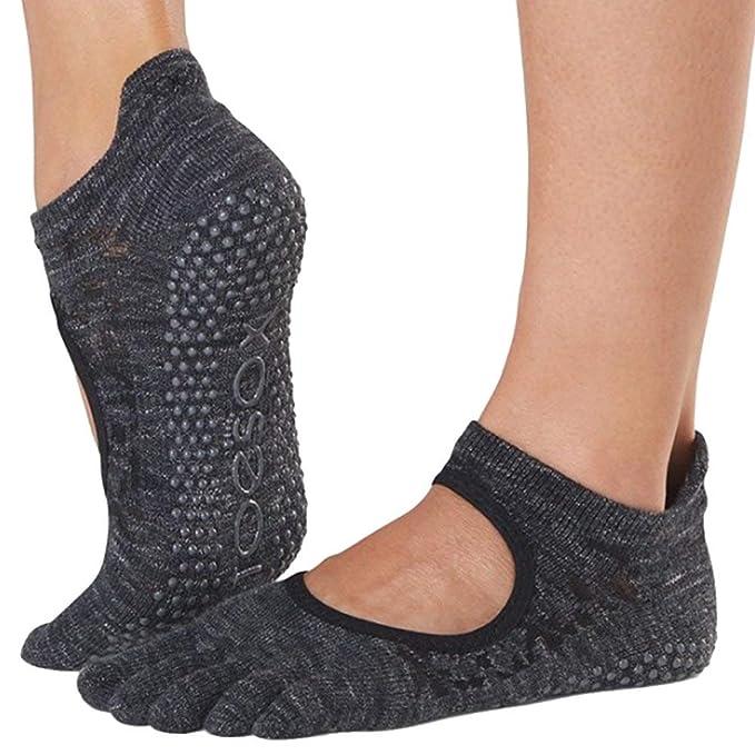 Toesox Grip Pilates Barre Socks-Non-Slip Bellarina Full Toe ...
