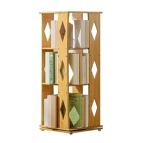 Amazon.com: Estantería moderna de bambú con rotación de 360 ...