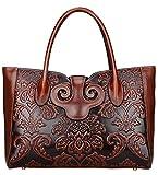 Pijushi Ladies Embossed Floral Handbags Leather Tote Handle Shoulder Handbags 91776 (Brown)