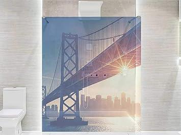 Vinilo Transparente para Mamparas de Ducha y Baños Puente Manhattan | Varias Medidas 200x120cm | Adhesivo Resistente y de Fácil Aplicación | Pegatina Adhesiva Decorativa de Diseño Elegante: Amazon.es: Hogar