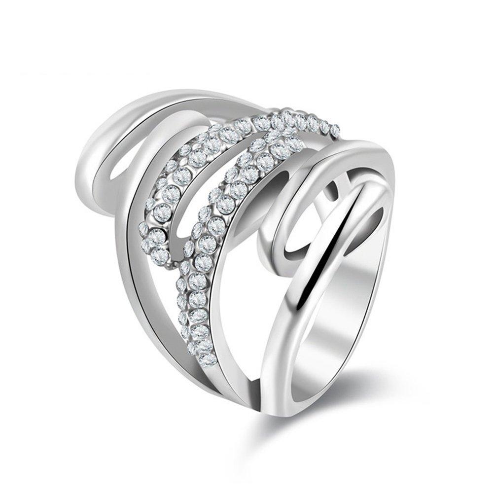 Kanrome Crystal Fashion Ring Silver Color Wedding Engagement Bridal Finger Rings