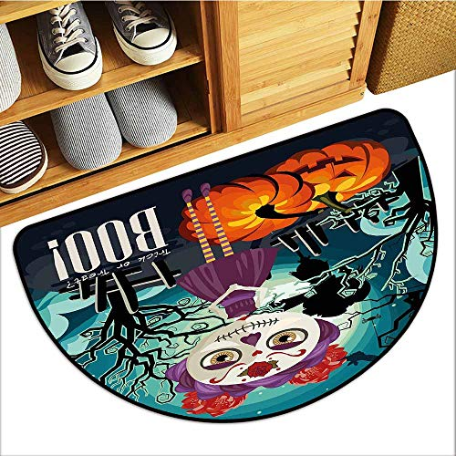Axbkl Interior Door mat Halloween Cartoon Girl with Sugar Skull Makeup Retro Seasonal Artwork Swirled Trees Boo with Anti-Slip Support W31 xL20 Multicolor