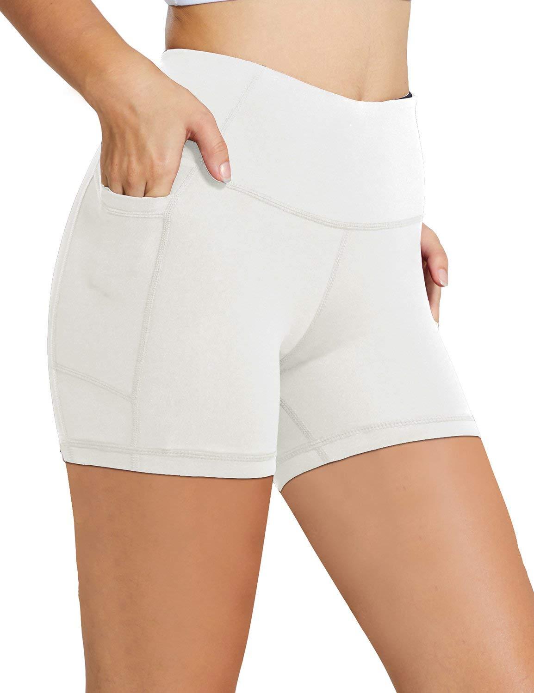 BALEAF Women's 5'' High Waist Workout Yoga Shorts Tummy Control Side Pockets White XS by BALEAF