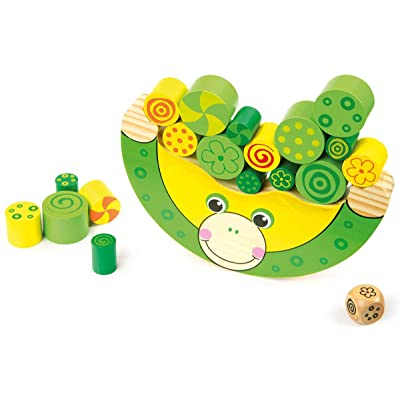 Small Foot Wooden Toys Stacking Frog Balancing Game with dice Move it! Designed for Children Ages 3+: Toys & Games