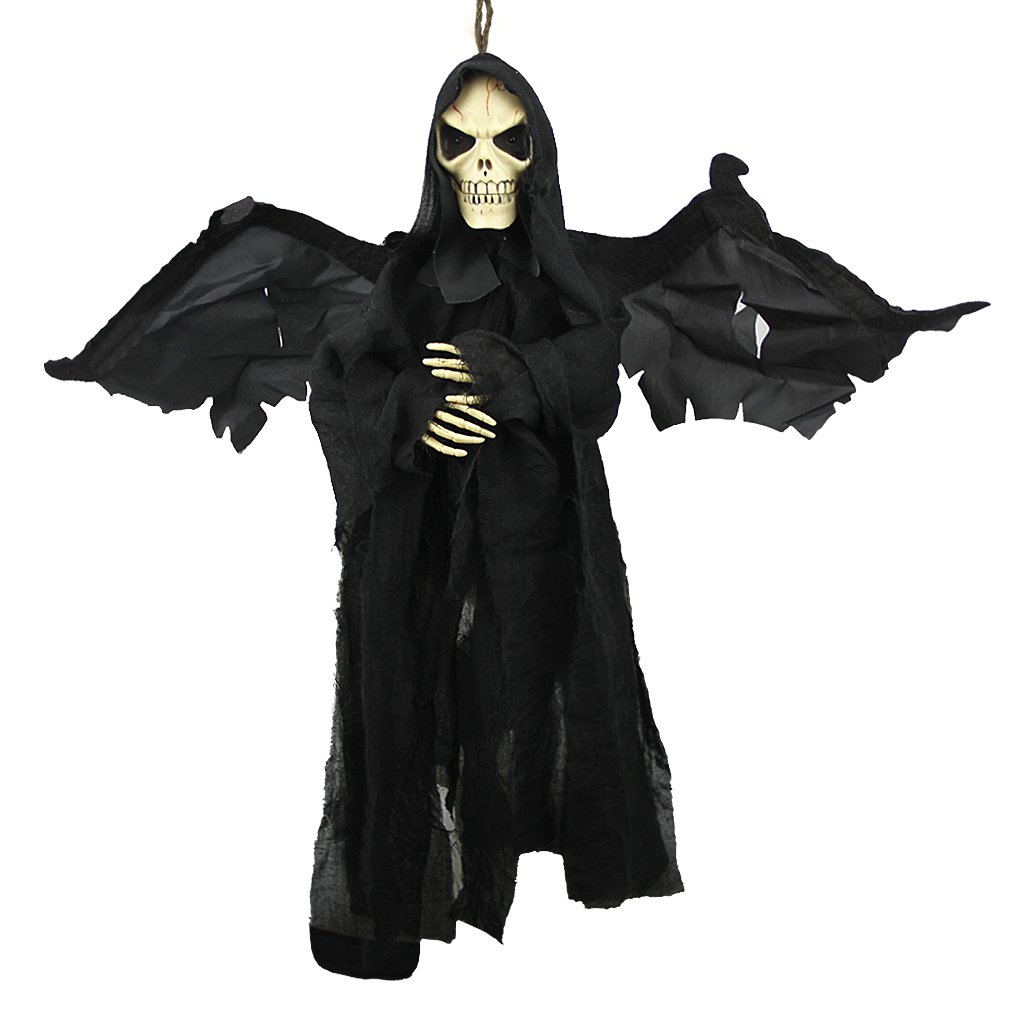 23.6'' Animated Fly Ghoul Ghost With Sound and Glowing Red Eyes Hanging Grim Reaper Skull Skeleton Halloween Decorations Haunted House Prop Decor Yard Outdoor Indoor Bar KTV Ornament Decor Toys Gift