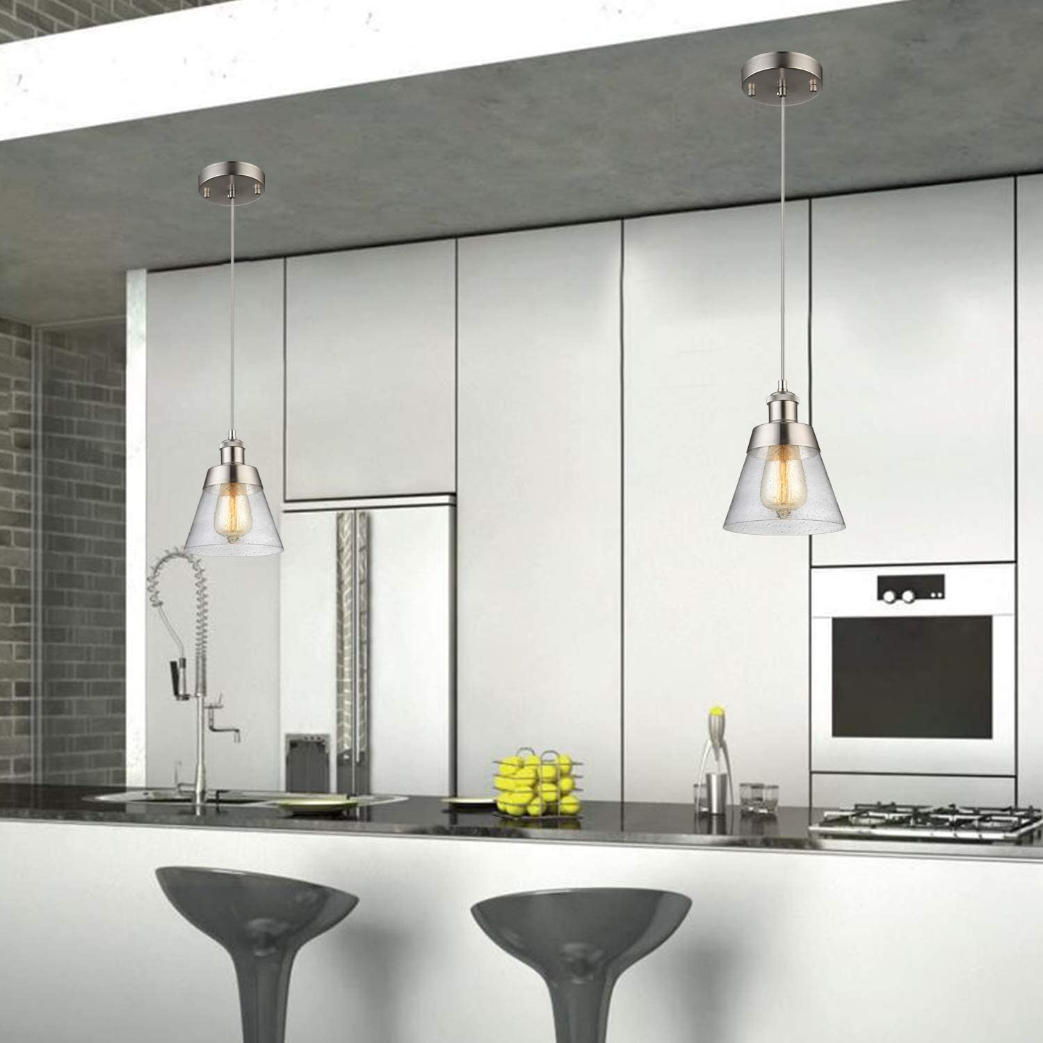 Modern Glass Pendant Light with Handblown Clear Seeded Glass Shade, One-Light Adjustable Industrial Mini Pendant Lighting Fixture for Kitchen Island Cafe Bar, Brushed Nickel