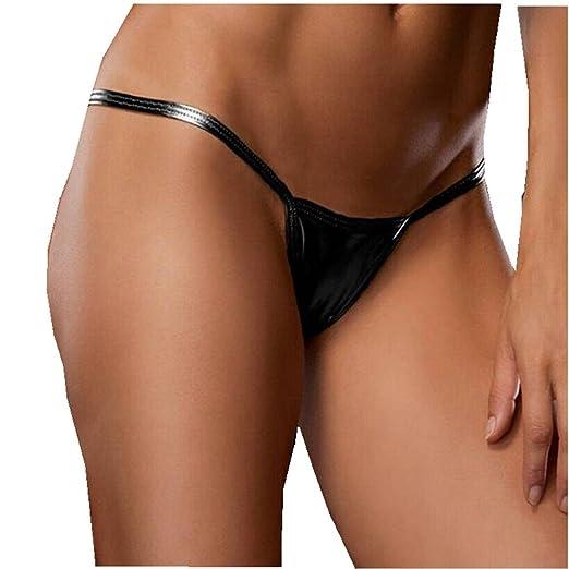 0a239c965858 YiZYiF Women's Metallic Micro Thongs Low Rise Shiny G String Bikinis  Swimwear Black One Size