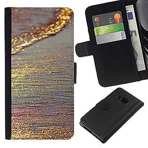 HTC One M7 Modelo colorido cuero carpeta tirón caso cubierta piel Holster Funda protección - Gold Glittering Iridescent Sea Sand Summer