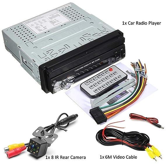 Nicedayes Pantalla táctil HD de 7 Pulgadas 1Din Car Audio Estéreo para automóvil Bluetooth Mirror Link Compatibilidad con Tarjeta SD Entrada de inversión ...