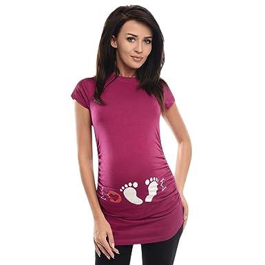 b5b8f390f QinMM Camiseta de Mujer Maternidad de Doble Capa