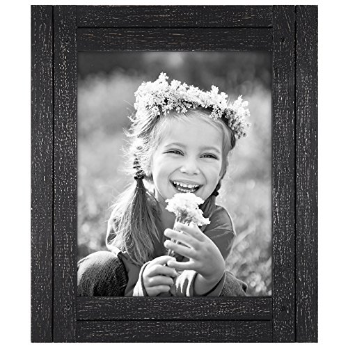 Distressed Wood Frame (Americanflat 8x10 Charcoal Black Distressed Wood Frame - Made to Display 8x10 Photos - Ready To Hang or Stand With Built in Easel)