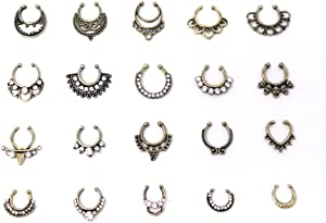 Honbay 20pcs Fake Septum Clicker Nose Ring Rhinestone Non Piercing Hanger Clip Body Jewelry (Bronze)