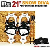 "New MTN Man Woman Kid Youth 21"" Gold Snowshoes with GOLD Nordic Walking Pole Free Bag snowshoe"