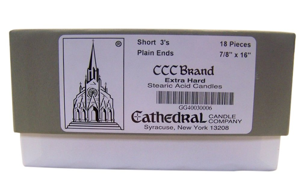 Cathedral Candle Company Extra Hard Stearic Acid Short 3's Plain End Church Candles, 7/8 Inch x 16 Inch, Box of 18