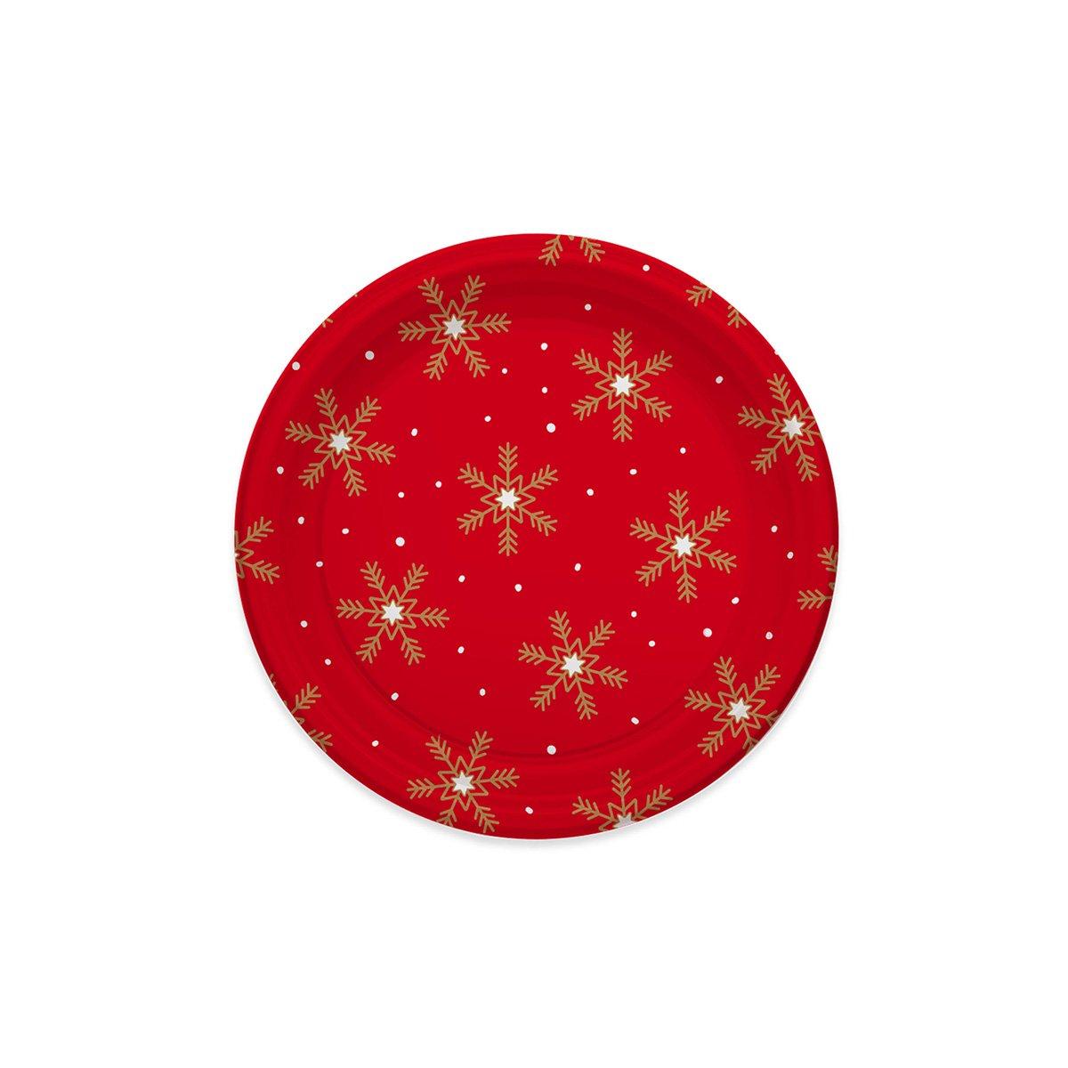 23 cm 4 unidades Platos de pl/ástico decorados con dise/ño de Navidad Colecci/ón Snowflakes