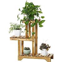 Khkfg Support à 3 étages en bois de pin, support de stockage d'affichage pour fleurs de plantes pour jardin de balcon, 21.7x9.8x26.0in