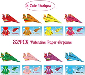 Valentine's Day Paper Airplanes Cards for Kids - 32Ct Exchange Gifts School Class Activity Party Supplies Favors