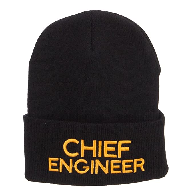 06581793af7 Amazon.com  E4hats Chief Engineer Embroidered Long Beanie - Black ...