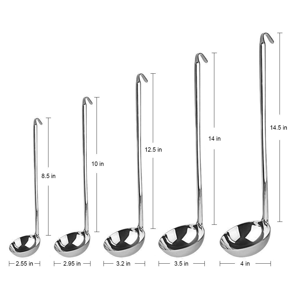 AMFOCUS Set of 5 Stainless Steel Soup Ladle - Hook Up Long Handle