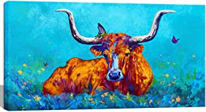 Visual Art Decor Abstract Texas Longhorn Canvas Wall Art Animals Cow Farm House Painting Picture Prints Framed and Stretched for Modern Home Bedroom Office Living Room Decoration