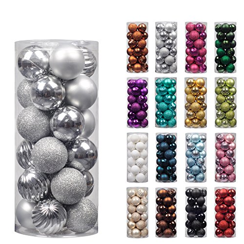 "KI Store 24ct Christmas Ball Ornaments Shatterproof Christmas Decorations Tree Balls Small for Holiday Wedding Party Decoration, Tree Ornaments Hooks included 1.57"" (40mm Silver) (Christmas Decorations Store)"