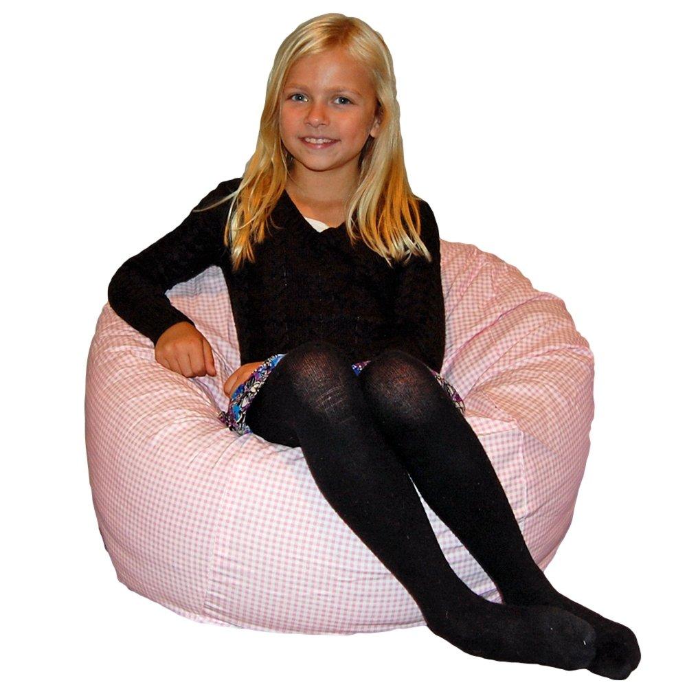 Ahh! Products Gingham Checker Pink Kid Bean Bag Chair