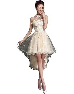 0d8a253fa59e Engerla Women's Strapless Lace-up Lace Applique High Low Bridesmaid Dress