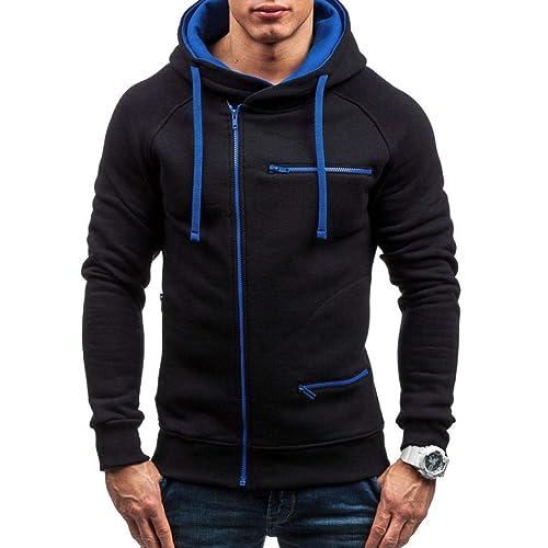 40139e4410f65 Amiley mens hoodies,Men's Zipper Contrast Color Hoodie Autumn Warm  Sweatshirt Casual Hoody Jacket (