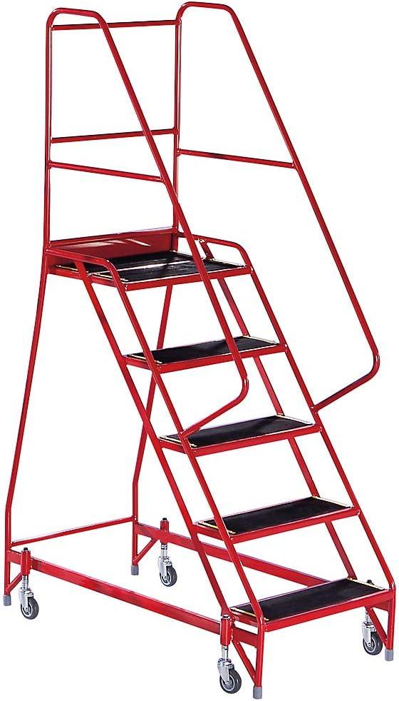 Escalera de seguridad Mobile – con Garde-Corps de los dos lados, 5 marchas rojo – Escalera de seguridad escaleras de seguridad plataforma móvil plataformas móvil escalera escaleras plataforma con ruedas (plataformas roulantes:
