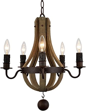 Vega Rustic Wine Barrel Stave Reclaimed Wood & Rust Metal Chandelier with Candle Light