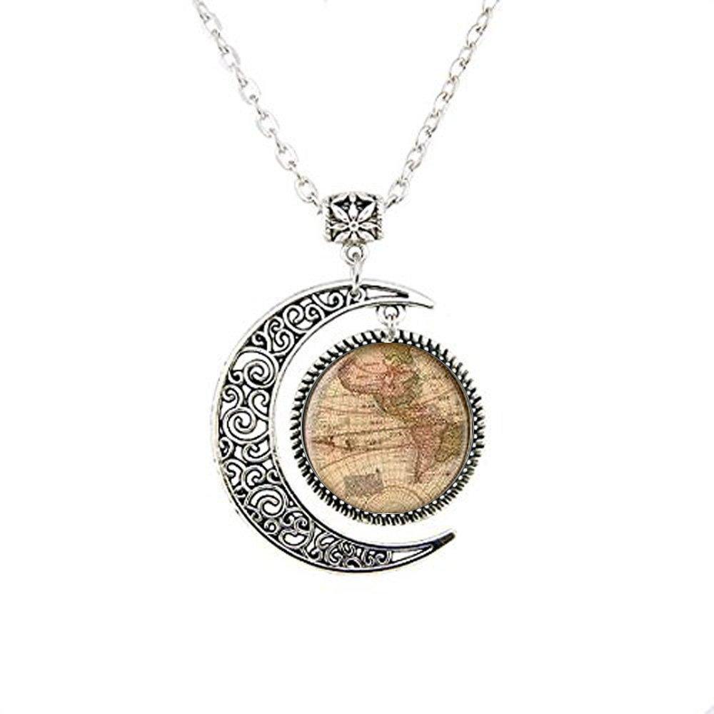 Colgante de mapa del mundo, mapa antiguo, Map Llavero, luna ...