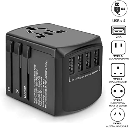 4 USB Port All in One Universal EU//Euro To US//USA Travel Power Converter Adapter