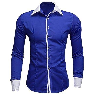 Yvelands Camisas de Manga Larga para Hombre Moda Informal Solapa Slim Fit Camiseta Impresa Tops Blusa