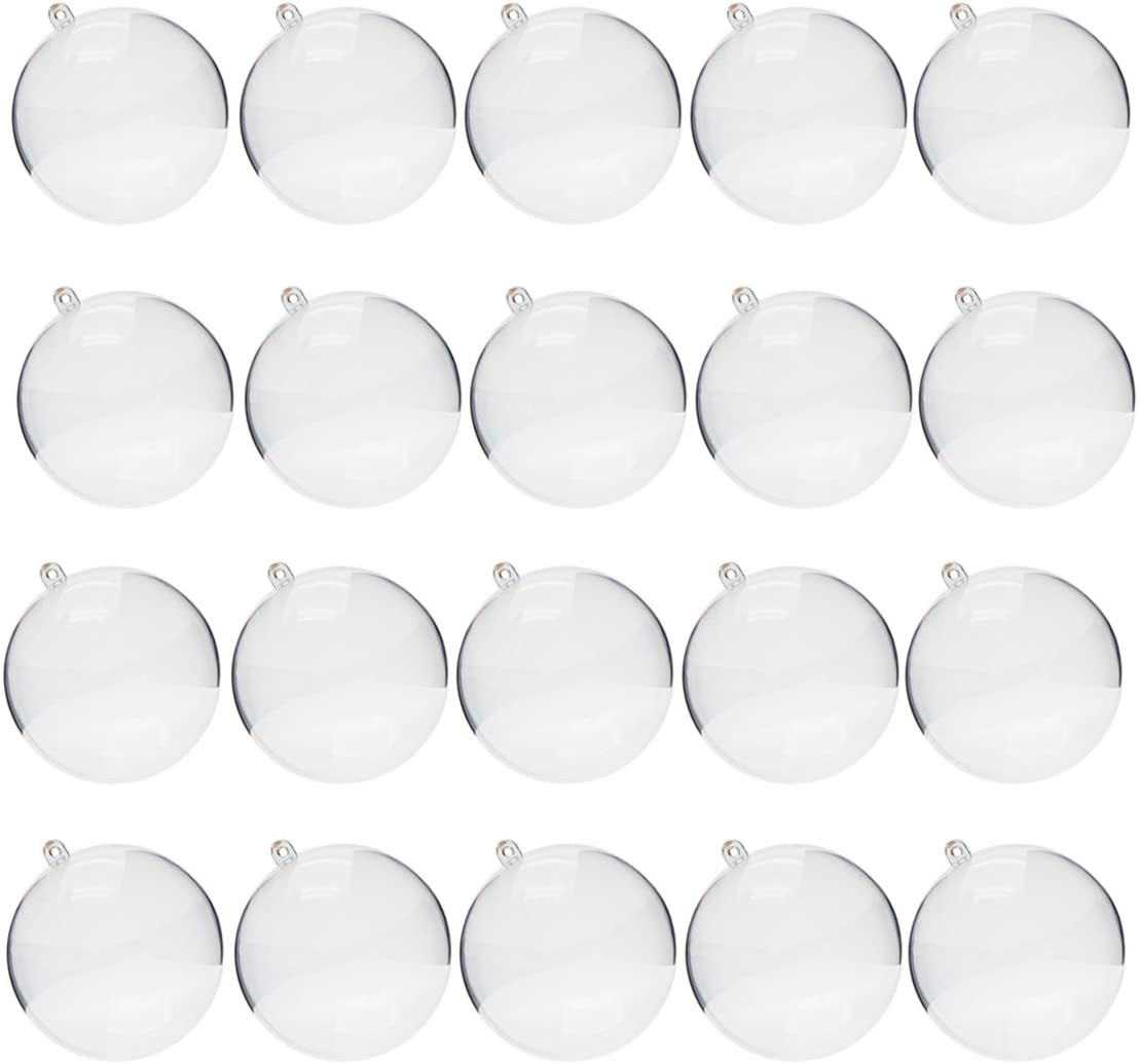 Saim 90mm Clear Plastic Fillable Ball Ornament,DIY Bath Bomb Molds for Christmas Party Decoration,Pack of 20