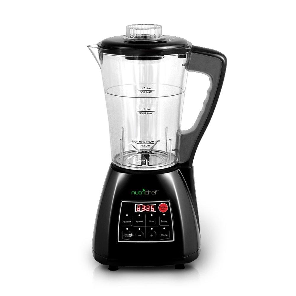 Upgraded NutriChef Pro Soup Maker & Blender | Multifunction Machine | Hot and Cold, Juicer, Soup & Smoothie Maker | Food Warmer | Healthy Food | Pulse, Steamer, 1.7L, Black (PKSM240BK)