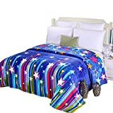 ShineMoon Blue Color Stars Soft Flannel Fleece Lightweight Baby Boy Girls Swaddle Blankets Throws for Bed Sofa , 200x230cm