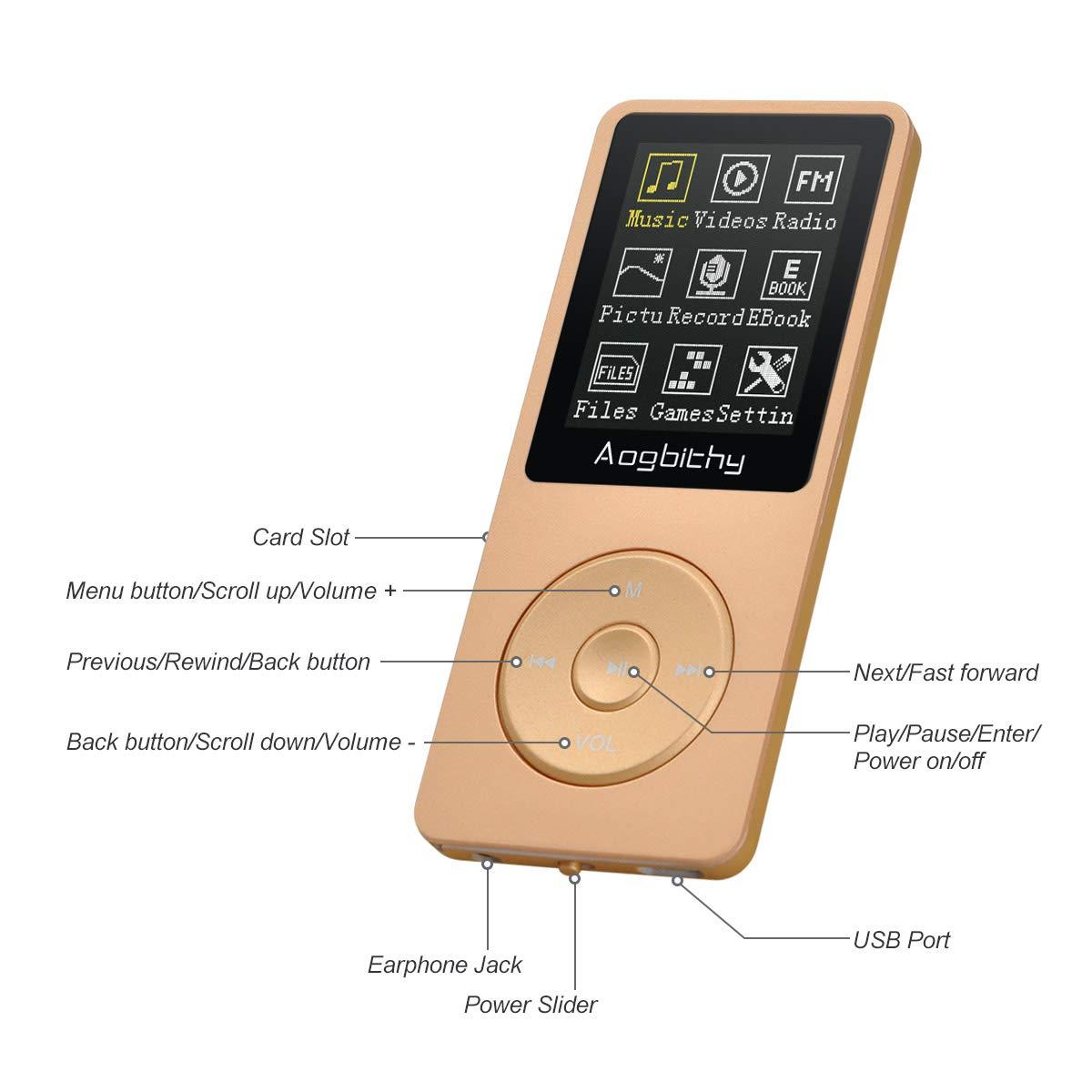 Aogbithy 8 GB, Pantalla de 70 Horas, Compatible con Reproductores de m/úsica MP3, hasta 64 GB Reproductor de MP3 Digital