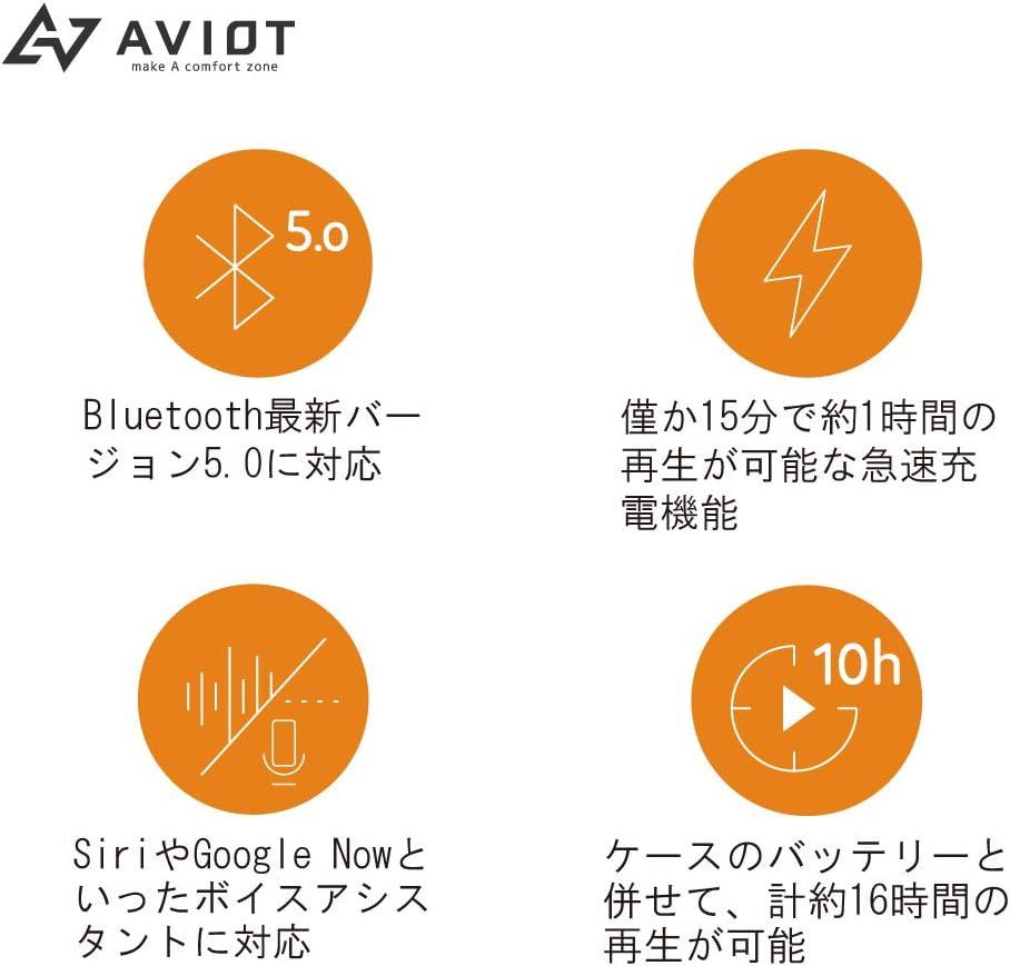 AVIOT Aviot Japanese Audio Manufacturer TE-D01c Bluetooth Earphone Bluetooth 5.0 Complete Wireless Earphone with Auto Pairing Charging Case Black