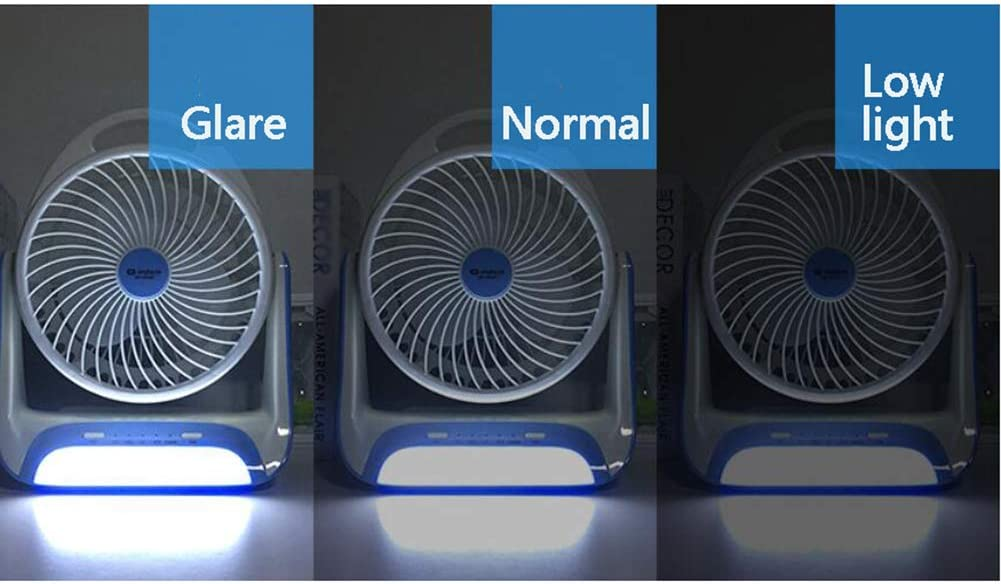 Portable Silent Fan Rechargeable 3-Speed with LED Light Mini USB Desktop Personal Fan