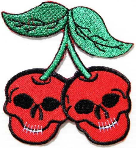 Red Cherry Embroidered Iron on Patch Red