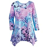 Collections Etc Women's Paisley Sharkbite Tunic Sequin Top w/Scoop Neckline, Purple Multi, XX-Large